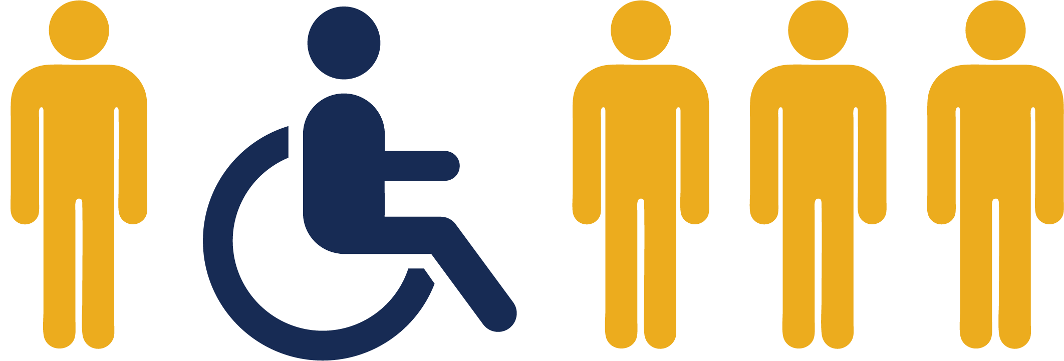 a graphic of four human silhouettes standing and one is using a wheelchair